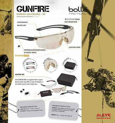 Bolle Tactical GUNFIRE Safety Airsoft Shooting Range Ballistic Military Glasses