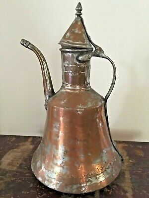"Large Antique Turkish Solid Copper 15"" Hand Hammered Water Pitcher, Vase, Urn"