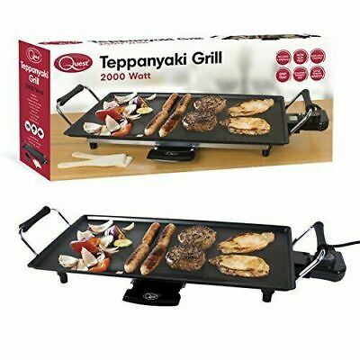 Quest 2000W Teppanyaki Grill Electric BBQ Table Top Grill Cooking Plate - Black