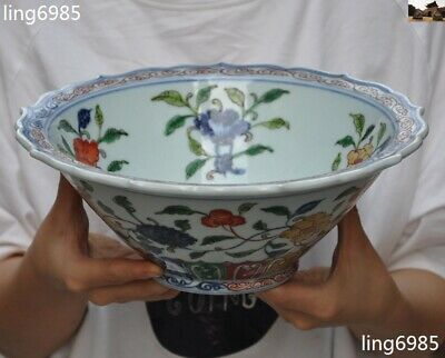 Rare Marked Old Chinese palace dynasty Wucai porcelain flower peach Tea cup Bowl
