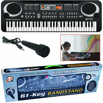 Digital Electronic 61 Keys Piano Electric Music Keyboard Organ + Mini Microphone