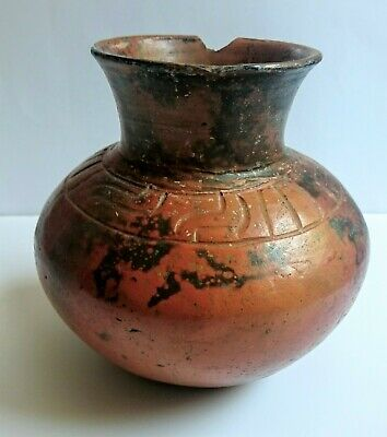 Ancient  Mayan Pre -Columbian Pottery Globular Vase
