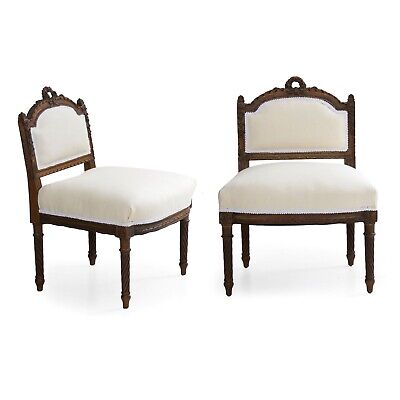 "FRENCH ANTIQUE CHAIRS | Pair of Louis XVI ""Boudoir"" Accent Side Chairs, Carved"