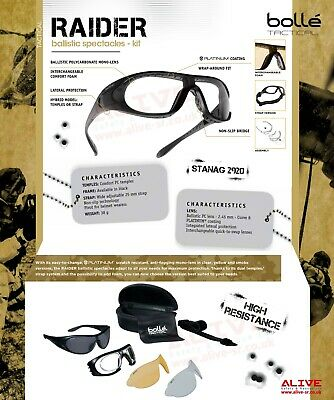 Bolle Tactical RAIDER Kit Ballistic Military Shooting Airsoft Paintball Glasses