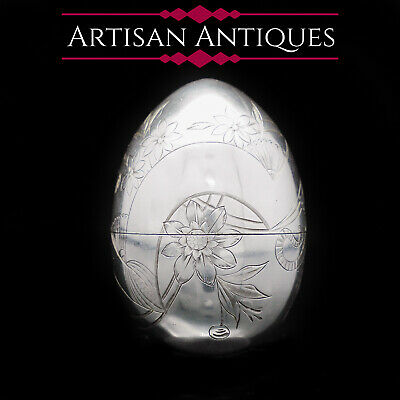Solid Silver Russian Easter Egg with Gilt Interior- P. Barabanon 19th Century