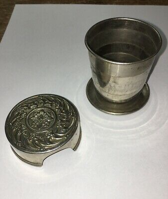 Vintage Metal Collapsible Travel Drink Cup Ornate Repousse Lid patd Feb.23 1897