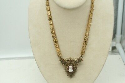 Antique Victorian Rose Gold Filled Bookchain Cameo Pendant Book Chain Necklace