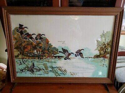 """Vintage Needlepoint Hand Crafted Flying Geese Seascape Picture Framed 33.5"""""""