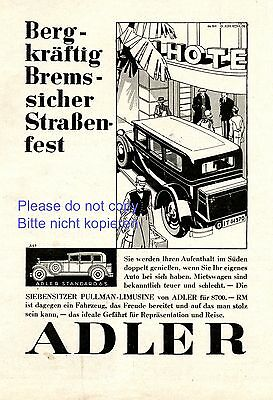 Adler Standard 6 S seven-seater Pullman German ad 1930 advertising car vehicle