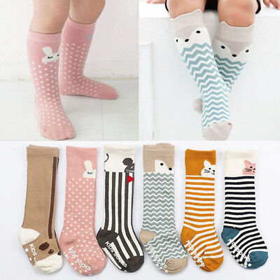 Newborn Kids Girls Boys Animal Pattern Anti-slip Knee High Stockings Baby Socks