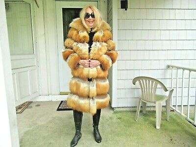 Amazing Horizontal Genuine Red Fox And Brown Leather Vintage Coat Sz Small (6/8)