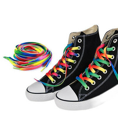 Gay Pride Rainbow Shoelaces 1//4 x 56 Inch Long Shoe Laces Rockabilly Punk NEW!