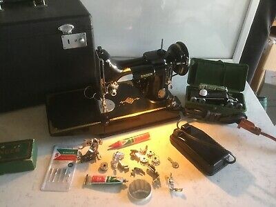 1951 Vtg Singer Centennial Featherweight Model 221-1 Sewing Machine W/Case +More