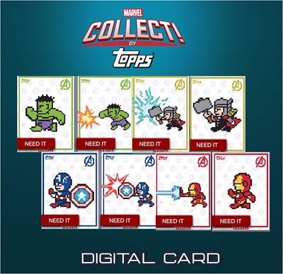 2019 8-BIT AVENGERS COMPLETE SET OF 8 CARDS Topps Marvel Collect Digital Card