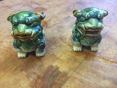Pair Asian Chinese Porcelain Pottery Ceramic Fu Foo Dog Lion Statue Figurines