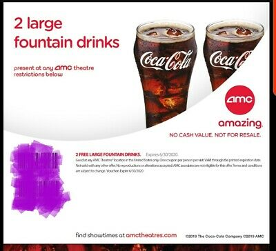 2 Large drinks from AMC (6 30, 2020 fast via email  same day movie movies