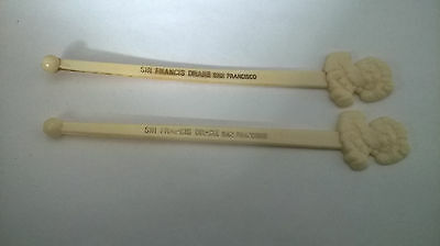 Sir Francis Drake San Francisco 2 Swizzle Sticks Man Drake on end