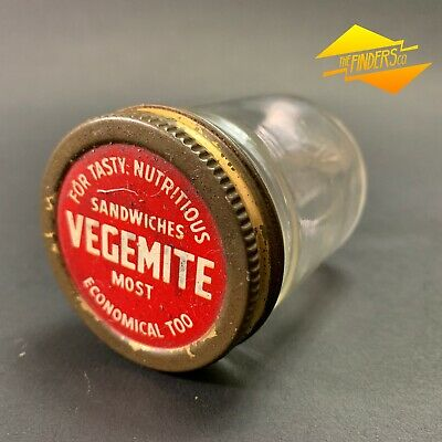 VINTAGE c.1950's VEGEMITE JAR WITH ORIGINAL LID KITCHENALIA ADVERTISING MILK BAR