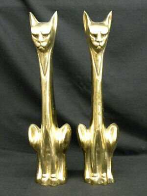 """Pair of Mid-Century Vintage Brass Fireplace Andirons 20"""" Sitting Cats Front Only"""