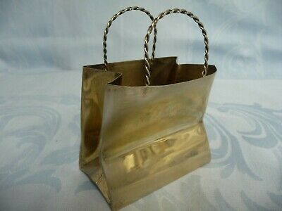RARE VINTAGE CARTIER STERLING SILVER SHOPPING BAG w/GOLD WASH, HAND MADE