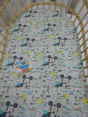 Bassinet Fitted Sheet Sleepy Mickey Mouse Pure Cotton  FITS STANDARD BASSINET