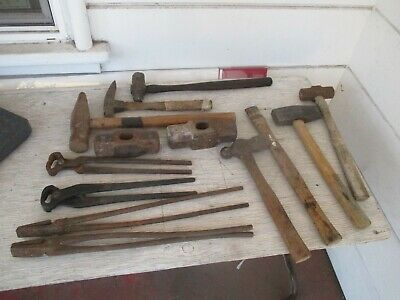 Lot of Blacksmith Tools, Hammers, Forge Tongs, Nippers; VintageTools  lot #2