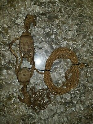 Rope Pulley Block & Tackle Fence Stretcher Farm Vintage Rustic Barn