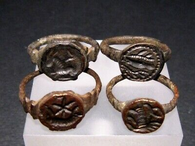 LOT OF 4pcs. VERY RARE ROMAN INTAGLIO SEAL BRONZE RINGS+++from an OLD COLLECTION