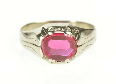 14K 1920's Art Deco Syn. Ruby Etched Men's Ring Size 9.75 White Gold *80
