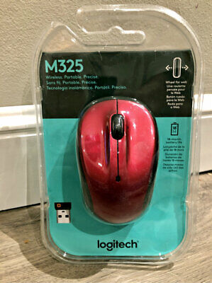 (New Retail) Logitech M325 Wireless Optical Mouse RED + Unifying USB Receiver