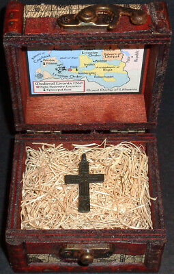 Ancient European Bronze Holy Cross Pendant Relic with Display Chest!!
