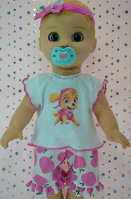 "Play n Wear Dolls Clothes For 17"" Luvabella Doll PINK APPLE PANTS~TOP~HEADBAND"