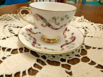 ROYAL TARA  fine bone china cup and saucer CLONMACNOISE Galway Ireland  4IN SET