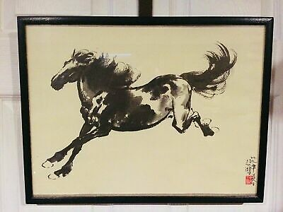 Preowned Chinese Horse Print  W/ Framed  Famous Artist
