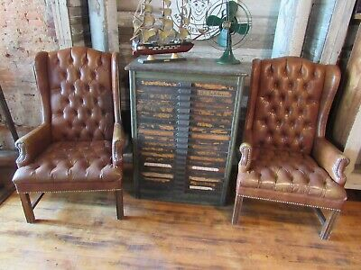Vintage 2-Chippendale Brown Wingback Chairs Tufted Button Furniture not Leather!