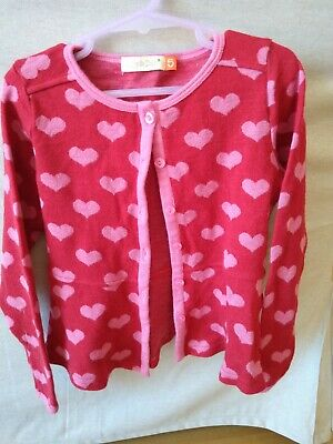 Girls Lily & Dan pink & red hearts cardigan. size 5, Merino wool. unworn.