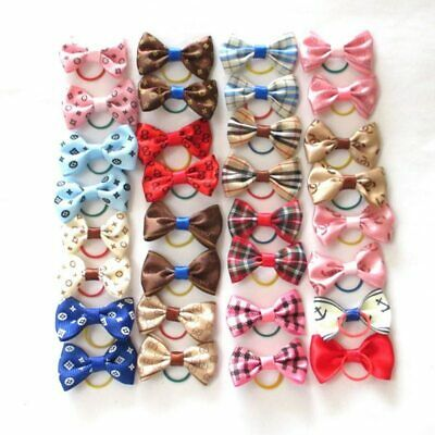 15 Colors Cute Pet Cat And Dog Rubber Band Hairpin Pet Bow Hair Accessories Smal