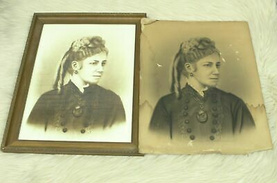 Antique Late 1800's Victorian Large Charcoal Woman Portrait With Frame And Copy
