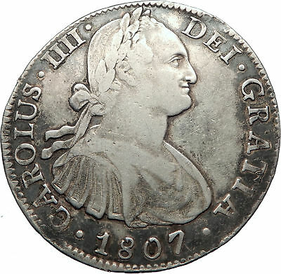 1807 MEXICO SPAIN King CHARLES IV Silver Antique 8 Reales  Mexican Coin i73806