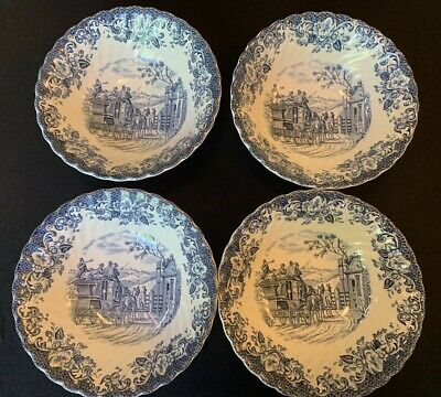 """Johnson Brothers Coaching Scenes Blue Lot of 4 Bowls 6 1/8"""" Ironstone England"""