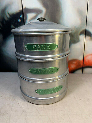 Vintage Australian Raco Aluminium Cake Pastry Biscuit Stack Kitchen Canisters