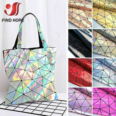 Holographic Geometric Iridescent Pu Leather Fabric Bag Clothe DIY Material