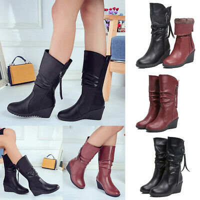 Womens Mid Wedge Heel Boots Knee Mid Calf Zip Up Round Toe Winter Shoes Size