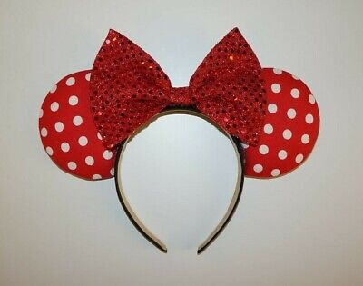 Custom Disney Minnie Classic Red Dots and Red sequin bow Mickey Mouse Ears