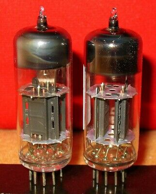 2 x 12BH7 BRIMAR UK Tubes .. 17mm BLACK plate HALO getter .. Tested STRONG