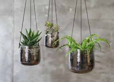 Small Glass Hanging Planter in a Translucent Aged Silver Finish by Nkuku