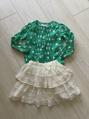 Tu Girls Beautiful White Lace Skirts And M&S Spotty Green Top Age 4-5 Fab!