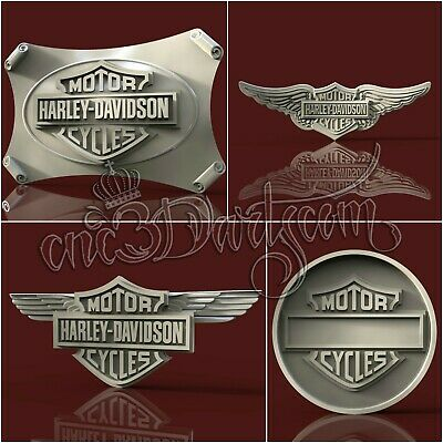 4 3D STL New Harley Wings Logo Models CNC Router Carving Machine Artcam aspire