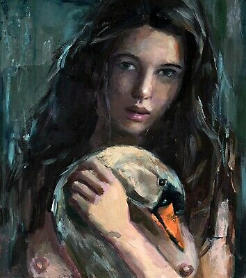 Nude Girl with Swan  ORIGINAL Oil Painting ART Woman from artist