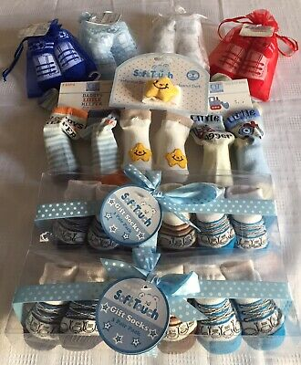 Wholesale Baby Boy Socks X 15 Pairs Gift Sets & Individual Pairs Tulle Gift Bags